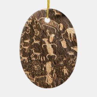 Rocks Newspaper Rock Utah Ceramic Oval Ornament