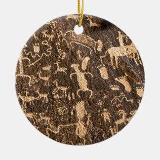 Rocks Newspaper Rock Utah Round Ceramic Ornament