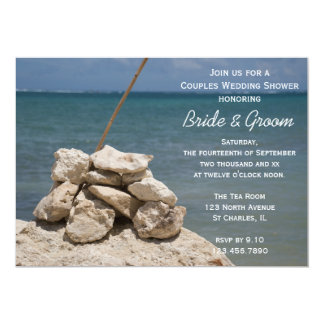 "Rocks on Beach Couples Wedding Shower 5"" X 7"" Invitation Card"