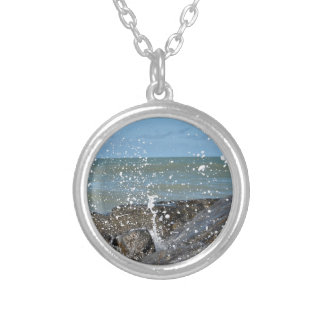 ROCKS ON BEACH QUEENSLAND AUSTRALIA SILVER PLATED NECKLACE