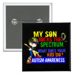 Rocks Spectrum Autism Son 2 Inch Square Button