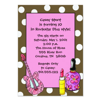 Rockstar Diva Birthday Invitations