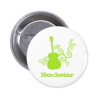 Rockstar Guitar Button, Lime Green 2 Inch Round Button