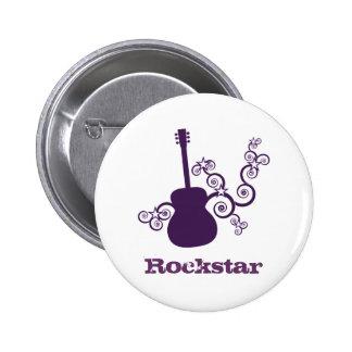 Rockstar Guitar Button, Purple 2 Inch Round Button