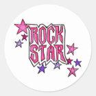 RockStar in PInk Classic Round Sticker