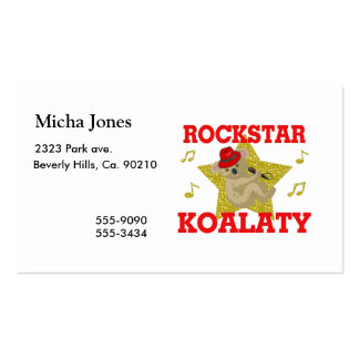 Rockstar Koalaty Singing Party Animal Pack Of Standard Business Cards