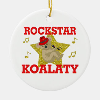 Rockstar Koalaty Singing Party Animal Round Ceramic Ornament
