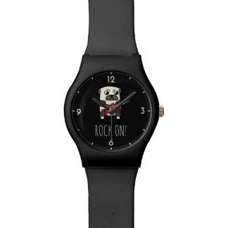 Rockstar Pug Cute Funny Cartoon Dog Wrist Watch