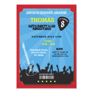 Rockstar Rock Music Gig Birthday Party Invite