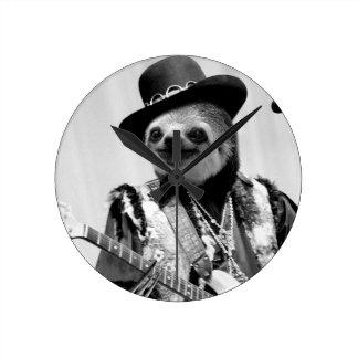 Rockstar Sloth #2 Round Clock