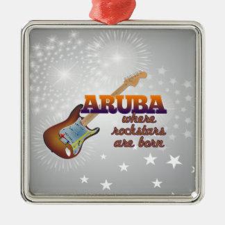 Rockstars are born in Aruba Silver-Colored Square Ornament