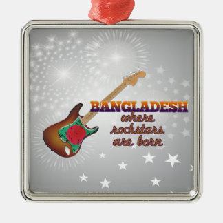 Rockstars are born in Bangladesh Silver-Colored Square Ornament