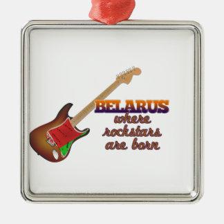 Rockstars are born in Belarus Silver-Colored Square Ornament