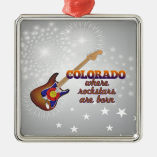 Rockstars are born in Colorado Silver-Colored Square Ornament