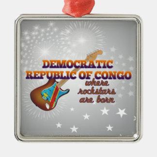 Rockstars are born in Congo Silver-Colored Square Ornament