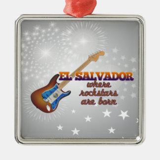 Rockstars are born in El Salvador Silver-Colored Square Ornament