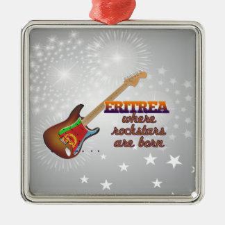 Rockstars are born in Eritrea Silver-Colored Square Ornament