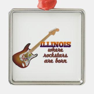 Rockstars are born in Illinois Silver-Colored Square Ornament