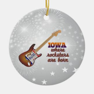 Rockstars are born in Iowa Round Ceramic Ornament