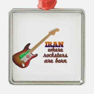 Rockstars are born in Iran Silver-Colored Square Ornament