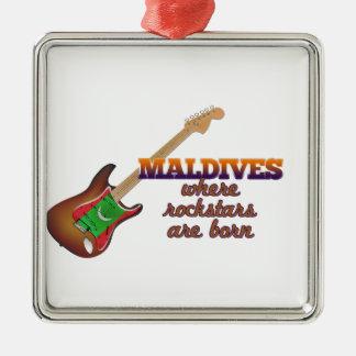 Rockstars are born in Maldives Silver-Colored Square Ornament