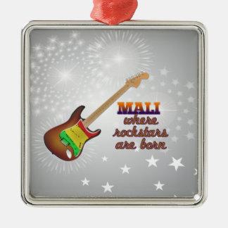 Rockstars are born in Mali Silver-Colored Square Ornament