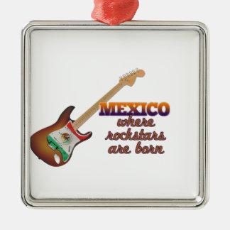 Rockstars are born in Mexico Silver-Colored Square Ornament