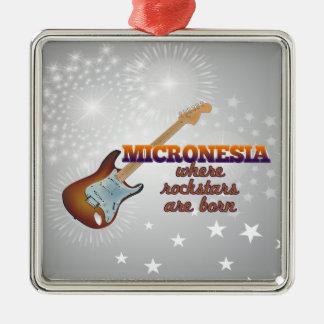 Rockstars are born in Micronesia Silver-Colored Square Ornament
