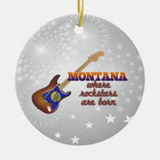 Rockstars are born in Montana Round Ceramic Ornament