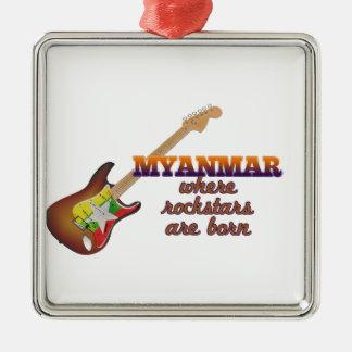 Rockstars are born in Myanmar Silver-Colored Square Ornament
