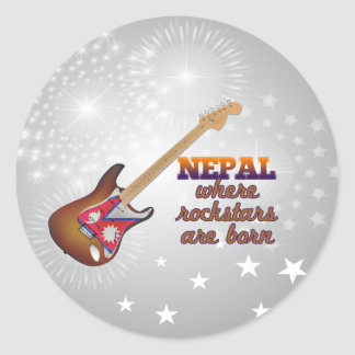 Rockstars are born in Nepal Classic Round Sticker