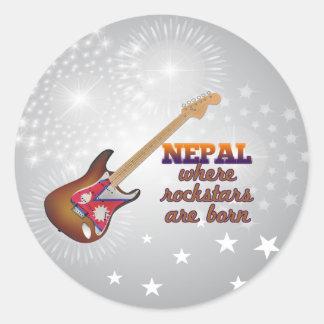 Rockstars are born in Nepal Round Sticker