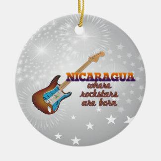 Rockstars are born in Nicaragua Christmas Ornament