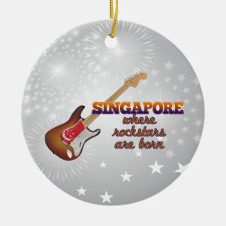 Rockstars are born in Singapore Round Ceramic Ornament