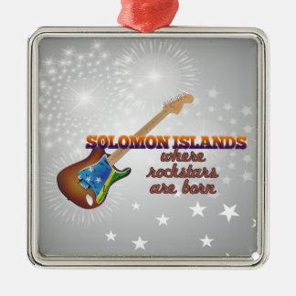 Rockstars are born in Solomon Islands Silver-Colored Square Ornament