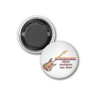 Rockstars are born in Suriname 1 Inch Round Magnet