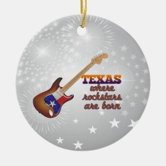 Rockstars are born in Texas Round Ceramic Ornament