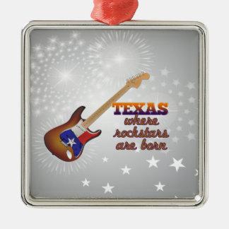 Rockstars are born in Texas Silver-Colored Square Ornament