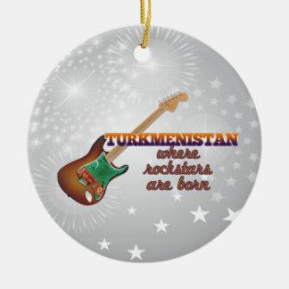 Rockstars are born in Turkmenistan Round Ceramic Ornament