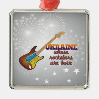 Rockstars are born in Ukraine Silver-Colored Square Ornament