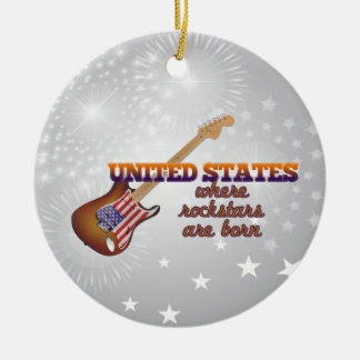 Rockstars are born in United States Round Ceramic Ornament