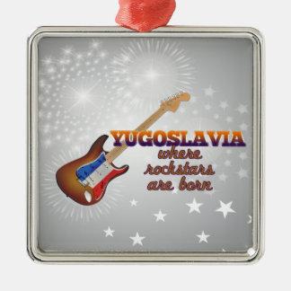 Rockstars are born in Yugoslavia Silver-Colored Square Ornament