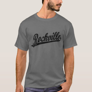 Rockville script logo in black distressed T-Shirt