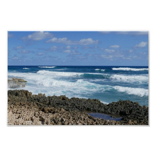 Rocky Bahamas Beach, Great Abaco Island Poster