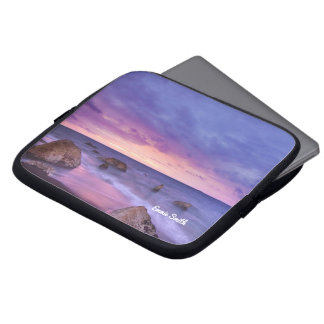 Rocky Beach at Sunset Personalized Laptop Sleeve