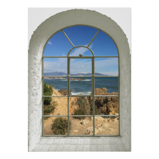 Rocky Beach Faux Window Poster