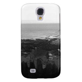 Rocky Beach. Scenic Coastal View. Black and White.