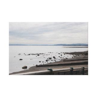 Rocky Beach With Groynes Medium Frame Canvas Print