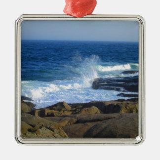 Rocky Cape Neddick Coast Silver-Colored Square Ornament
