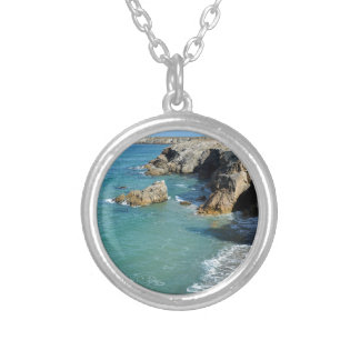Rocky coast at Quiberon peninsula in France Silver Plated Necklace